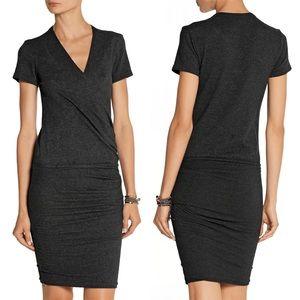 James Perse Wrap-effect cotton-blend jersey dress